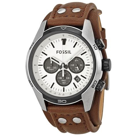 Fossil Ch 2890 Silver Brown fossil coachman chronograph white brown leather mens