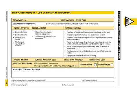 electricians risk assessment template health and safety manual