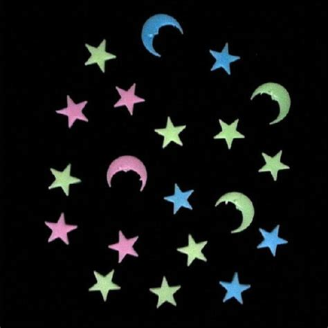 moon and stars bedroom decor 20pcs moon stars noctilucence wall decal colorful
