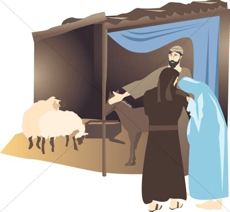 mary and joseph at the stable manger clipart