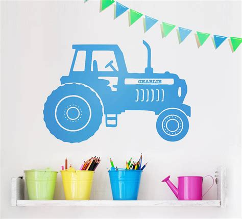 personalised vinyl wall stickers personalised tractor vinyl wall sticker by oakdene designs