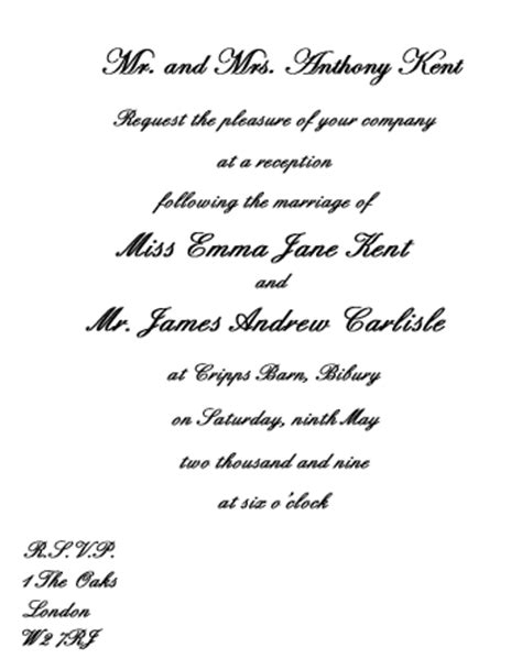 invite wording for wedding reception only wedding invitation wording etiquette