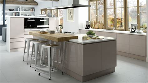 integral kitchen islands britishstyleuk a light cashmere gloss door with an integrated handle trim