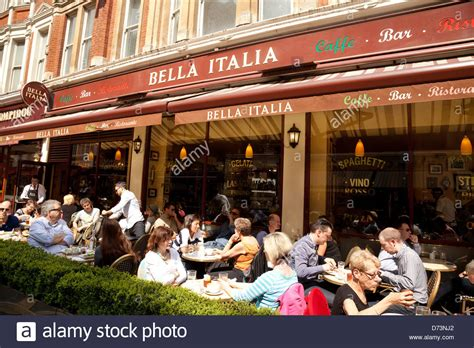 bella italia italian restaurant people eating outside