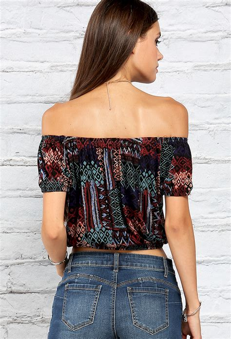 abstract pattern crop top dress abstract pattern waist hugging off the shoulder crop top