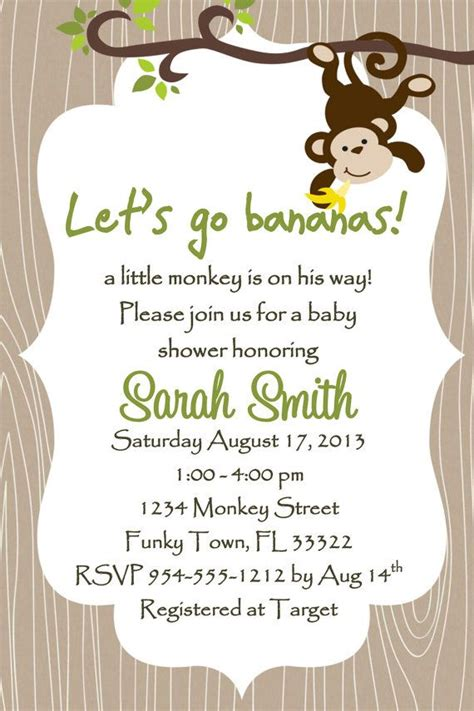 free monkey baby shower invitation templates monkey baby shower invitation template 4x6 boy boys