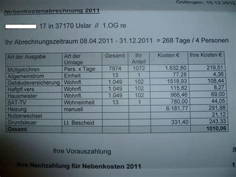 Nebenkostenabrechnung Wohnung by Mietrecht Nebenkostenabrechnung Betriebskostenabrechnung