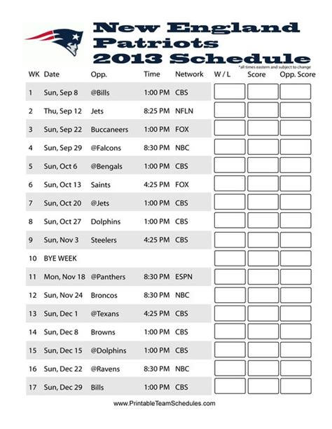 printable nfl schedule with channels new england patriots england patriots and patriots on