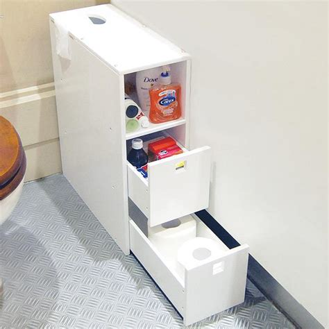 Bathroom Storage Unit White Drawers Cabinet Slimline Bath Small Bathroom Storage Drawers