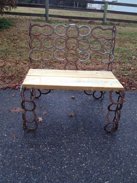 used wooden bench hand crafted horseshoe wood seat bench used shoes by
