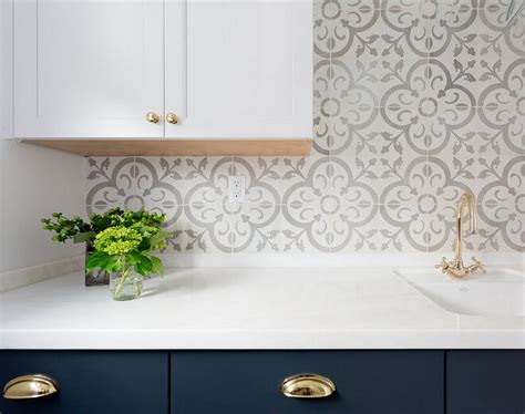 cement tile backsplash clean cabinet hardware room