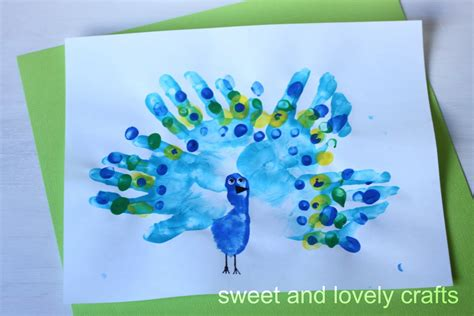 handprint craft sweet and lovely crafts handprint peacocks