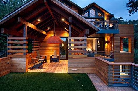 creative contemporary all wood hillside home design hillside house by sb architects homedsgn
