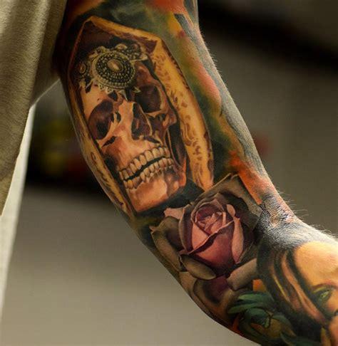 arm piece tattoo designs veiled skull arm best design ideas