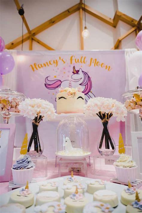 karas party ideas unicorn themed full moon  month