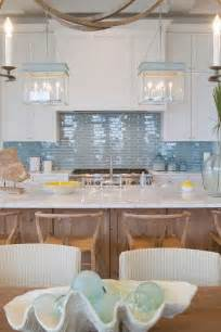 kitchen with blue backsplash and blue lanterns cottage