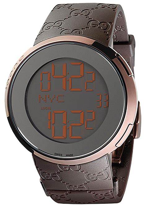 gucci i gucci digital brown rubber mens ya114209