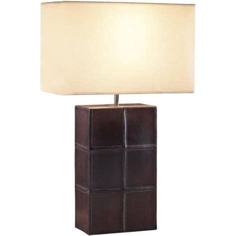 Shade Chandelier Lighting Saddler Brown Tanned Leather Table Lamp Rectangular Cream