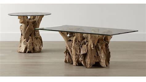 Dining Room Table Base For Glass Top driftwood occasional tables crate and barrel