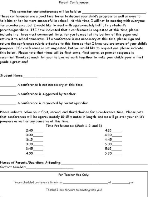 parent teacher conference letters parent conference request letter template and the