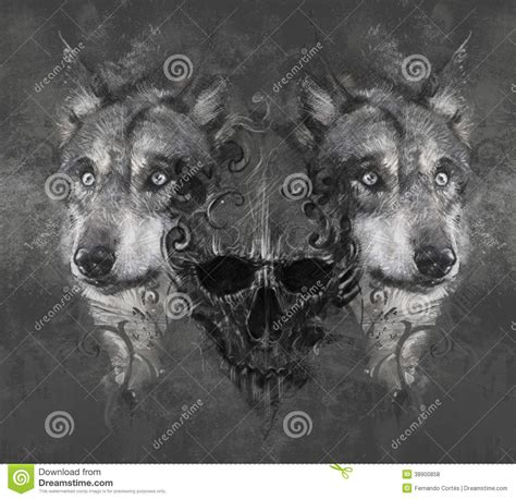 wolf illustration with skull tattoo stock illustration