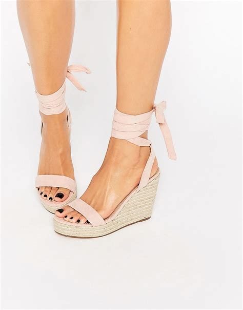 Gucci Wedges Shoes 5cm Code 999 10 asos talent tie leg wedge sandals apricot in pink lyst
