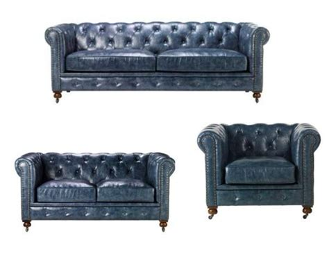 Navy Leather Sofa Stunning Blue Leather Chesterfield Sofa Set With Loveseat Arm Chair This Is A Unique Navy