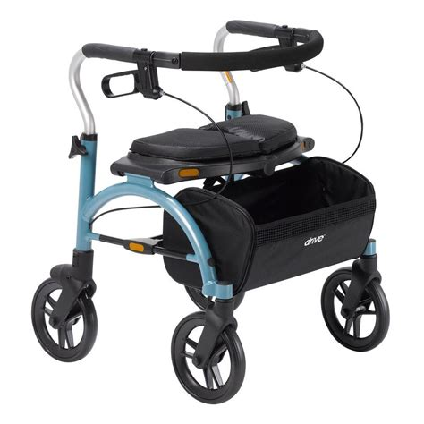 drive rollator drive dlite 4 wheel rollator walker with 8 in wheels and