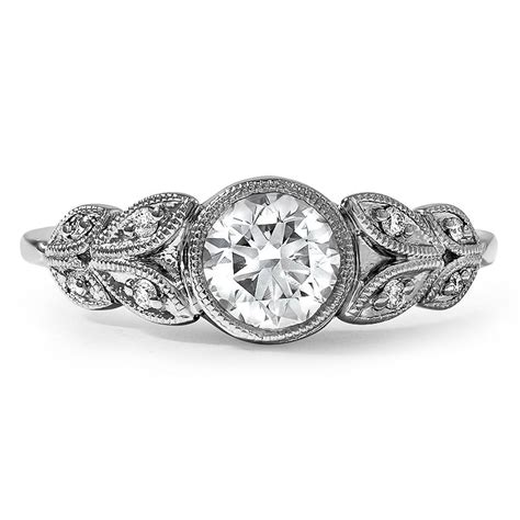 custom antique inspired floral milgrain ring
