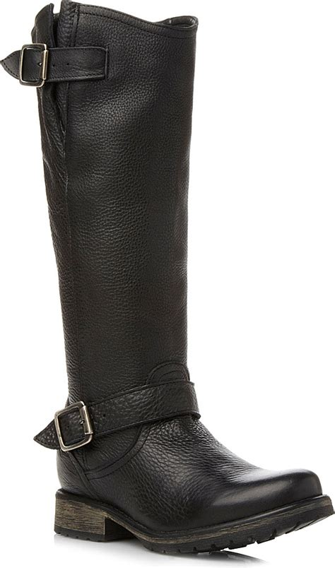 steve madden knee high boots steve madden fairport leather knee high boots in black lyst