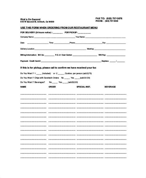 food order form template sle food order form 9 exles in word pdf