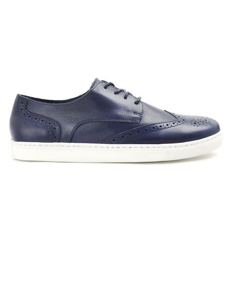 blue leather sneakers menlook label navy leather sneakers in blue for lyst