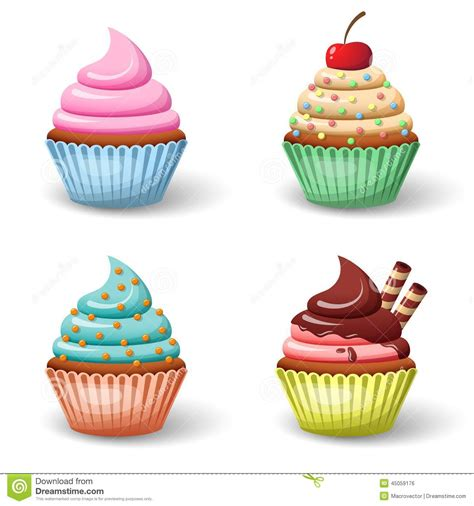 Set Cupcake by Sweet Cupcake Set Stock Vector Image 45059176