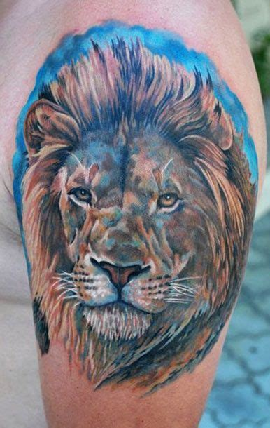 colorful lion tattoo color ink cool tattoos