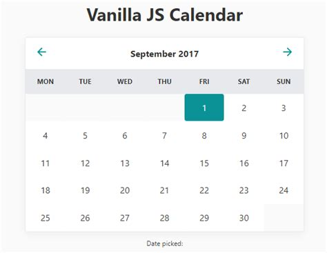 minimal inline calendar date picker vanilla javascript