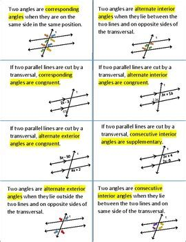 teaching notes for compare corresponding terms in angles formed by a transversal foldable for interactive