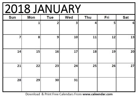january calendar template january 2018 calendar templates caleendar