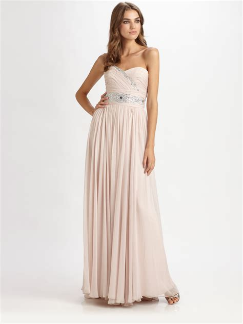 Marchesa Silk Chiffon Gown by Lyst Notte By Marchesa Strapless Silk Chiffon Gown In Pink