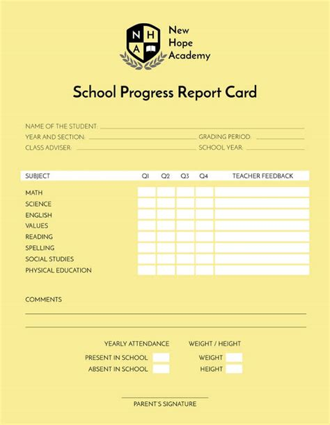 docs report card template 12 school report templates pdf doc excel free