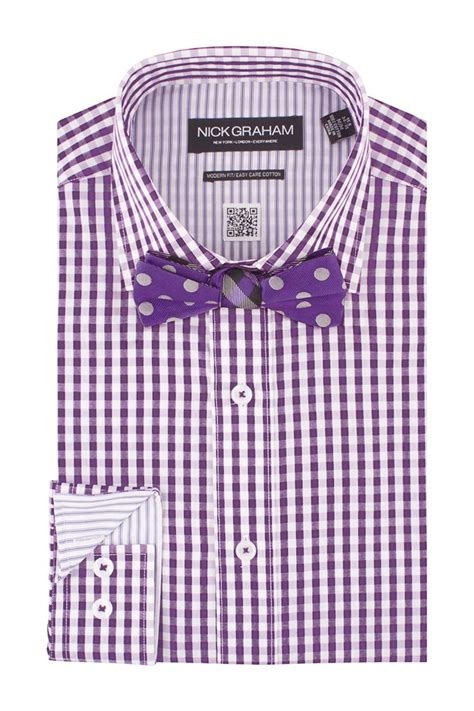 gingham dress shirt polka dot bow tie set mens shirt