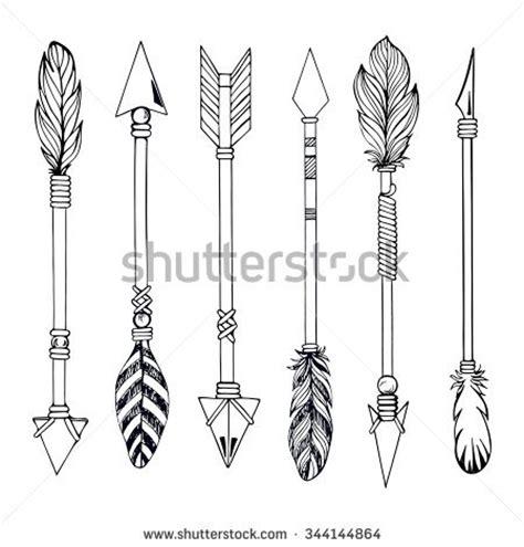 tribal indian arrow set ethnic hand stock vector 344144864