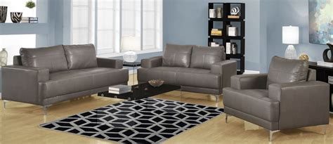 Gray Leather Living Room Set 8603gy Charcoal Gray Bonded Leather Living Room Set 8603gy Monarch