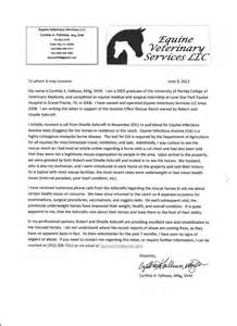 Equine Veterinary Cover Letter by Reference Letter From Domino Effect S Veterinarian Dominoeffectexaminer