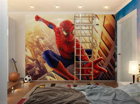 boys spiderman bedroom ideas spiderman down lit boys room with ladder