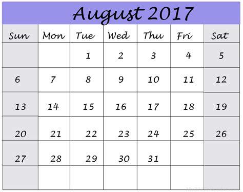 Calendar 2017 July August September October August 2017 Printable Calendar Printable Calendar Templates