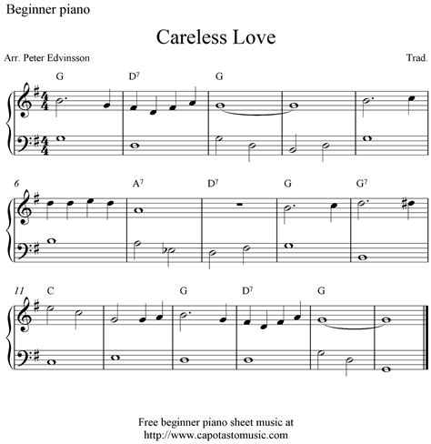 free printable sheet music keyboard beginners free beginner piano sheet music careless love
