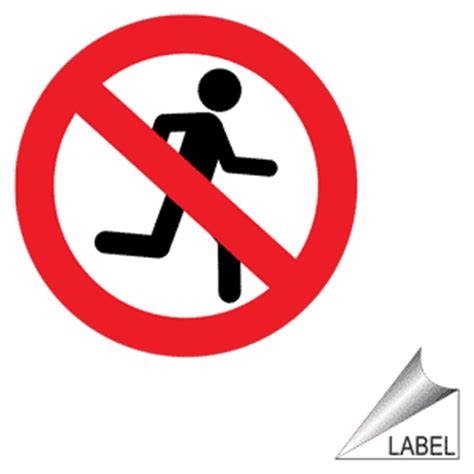Mirrored Wall Stickers no running symbol label label prohib 70 machine safety