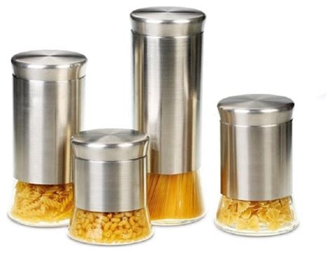 contemporary kitchen canister sets flairs stainless steel 4 canister set contemporary kitchen canisters and jars by