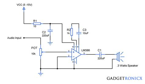 audio lifier circuit diagram with layout audio lifier circuit using ic lm386 gadgetronicx