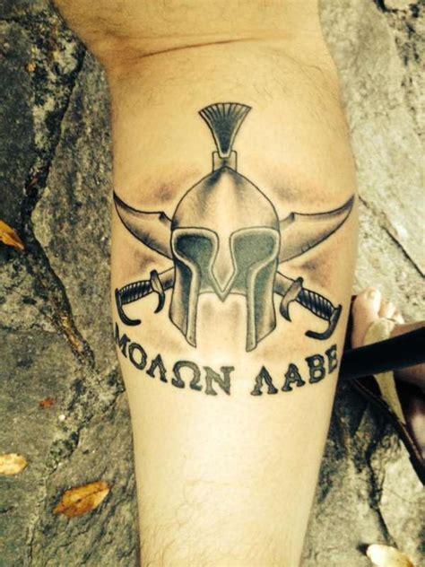 molon labe tattoo spartan helmet molon labe